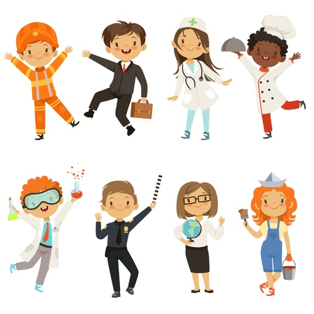 Young kids boys and girls of different professions Vectores