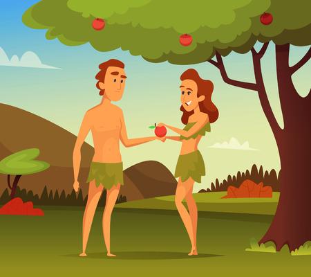 Obraz tła historii biblijnej. Pokusa Adama. Ilustracja pierwszego mężczyzny i kobiety