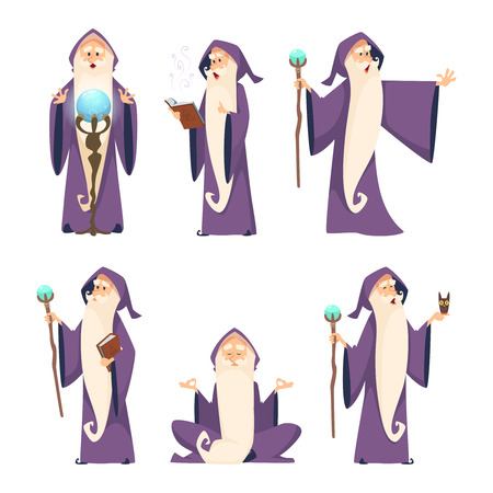 Wizard male. Cartoon mascot in action poses