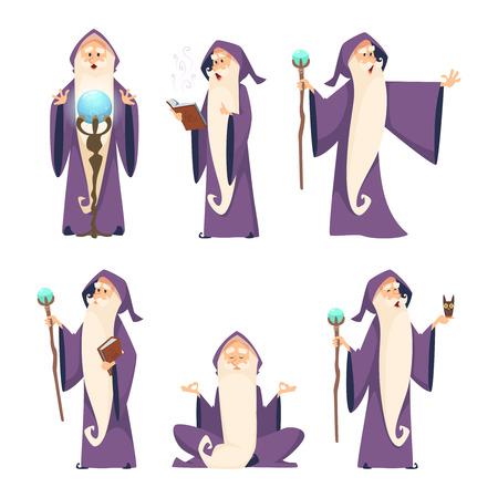 Wizard mannetje. Cartoon mascotte in actie vormt