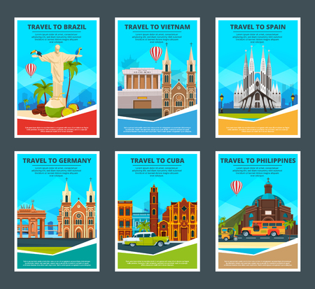 Design template of various travel cards with illustrations of famous landmarks Иллюстрация