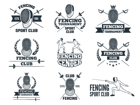 Labels set for fencing sport. Monochrome pictures of rapiers, sword mask and other equipment