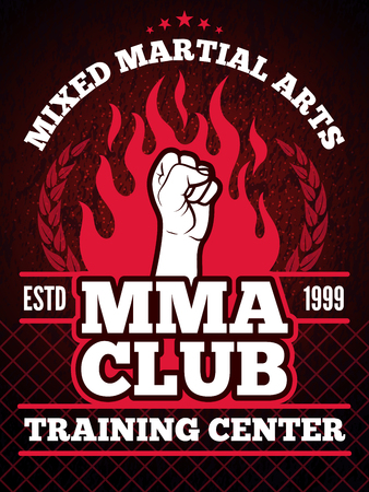 Sport poster of mma mixing fight concept illustrations