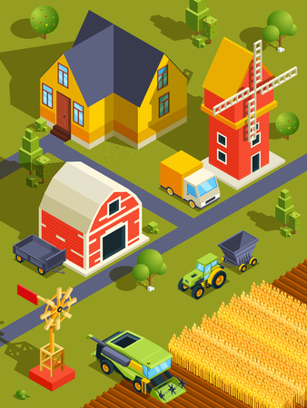 Isometric landscape of village or farm with various buildings and agricultural machines 版權商用圖片