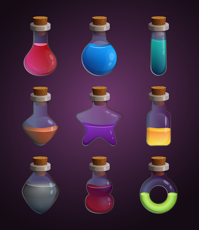 Glass bottles at different shapes with various liquid poison. Tools for game design projects 스톡 콘텐츠
