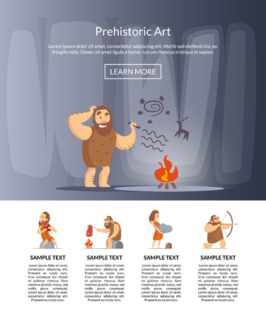 Vector cartoon cavemen illustration 向量圖像