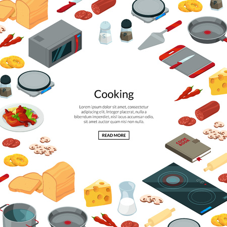 Vector cooking food isometric background 일러스트