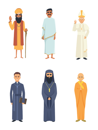Different religion leaders. Cartoon characters isolate on white. Islam and christianity, catholic and arab, vector illustration