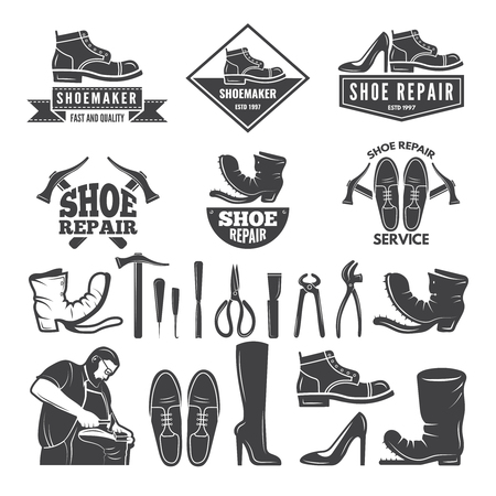 Monochrome illustrations of various tools for shoe repair. Labels or logos for clothing factory. Vector shoe repair, shoemaker profession, repairman and craftsmanship Illustration
