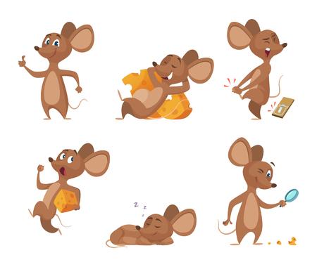 Divers personnages de souris dans des poses d'action