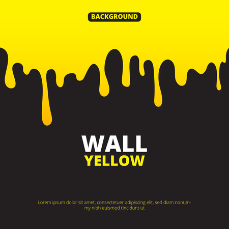 Background illustration with yellow paint dripping. Liquid splash, fluid on wall banner vector