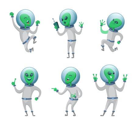 Extranjeros divertidos de pie en varias poses. Humanoides vectoriales. Ilustración de la mascota marciana verde, criatura de carácter divertido