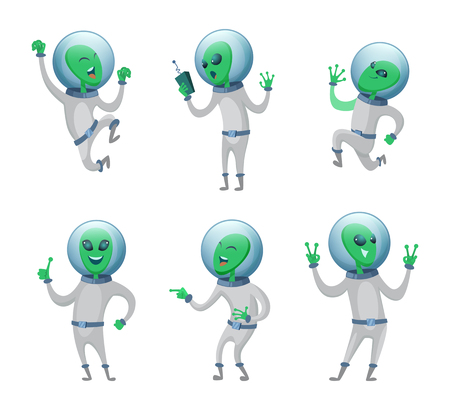Funny aliens standing in various poses. Vector humanoids. illustration of green martian mascot, funny character creature