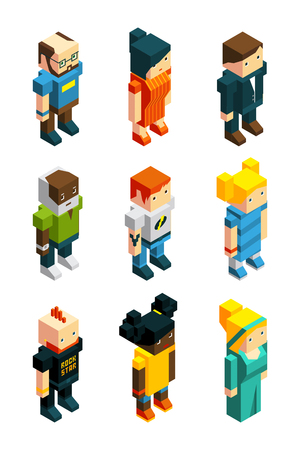 3D low poly peoples. Isometric user icons set characters young, polygonal woman and man, vector illustration 일러스트