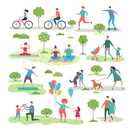 Various outdoor activities in the urban park. Group of walking peoples. Illustration of recreation jogging with dog, exercise fitness outdoor Illustration
