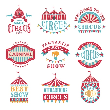Retro badges or logotypes of carnival and circus Standard-Bild - 103283357