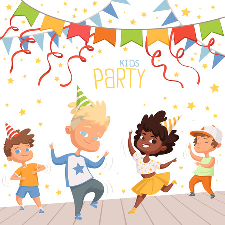 Background illustrations at childrens dance party. Template of poster for kids invitation