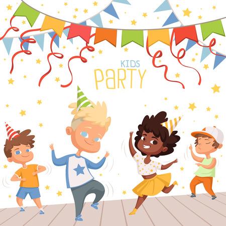 Ilustraciones de fondo en la fiesta de baile para niños. Plantilla de cartel para invitación de niños Foto de archivo - 103283411