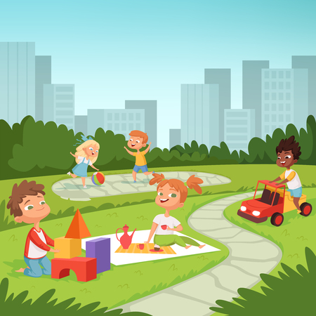 Childrens playing in educational games outdoor . Various equipment for kids Stock Illustratie