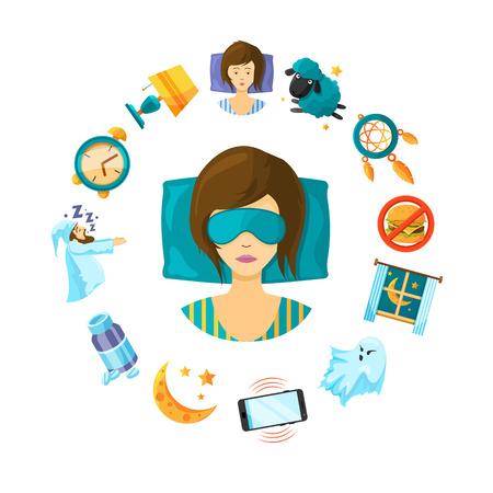 Vector concept illustration with cartoon sleep elements around sleeping woman person