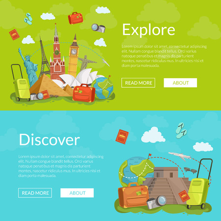 Vector horizontal web banners illustration Illustration