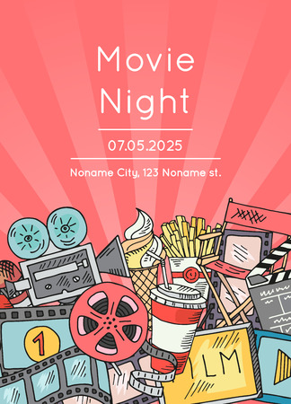 Vector cinema doodle icons poster for movie night or festival