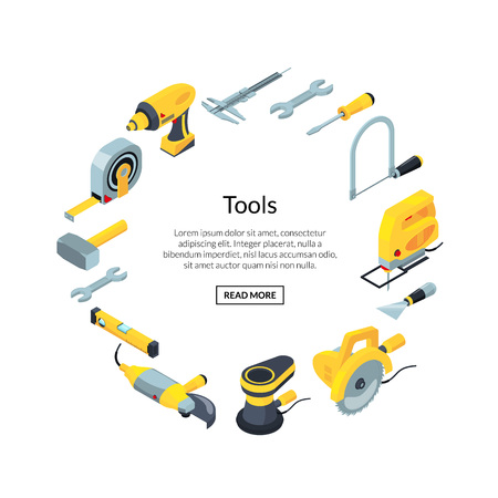 Vector construction tools isometric icons in circle