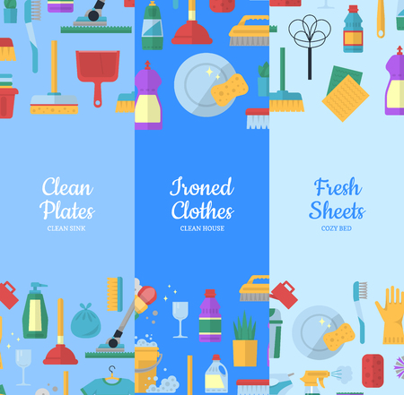 Vector cleaning flat icons web banners illustration