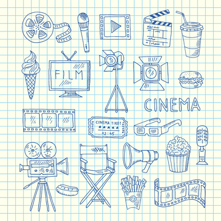 Vector cinema doodle icons of set on cell sheet illustration
