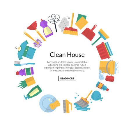 Vector cleaning flat icons with place for text illustration
