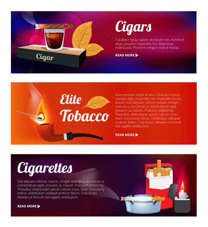 Horizontal banners with illustrations of hookah, cigarettes and various tools for smokers