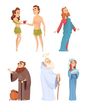 Personajes históricos de la Biblia. Mascotas de vector en varias poses Ilustración de vector