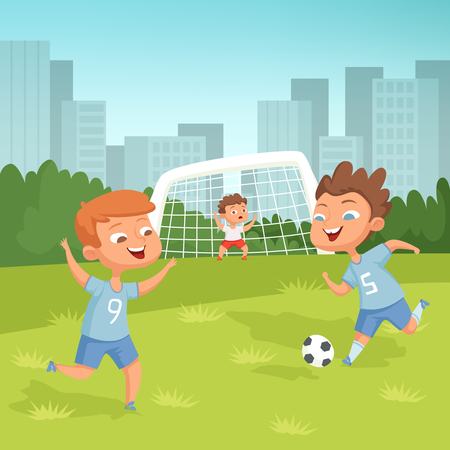 Active children playing football outdoor Stockfoto - 103995447