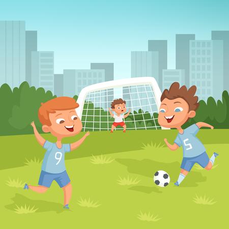 Niños activos jugando al fútbol al aire libre Ilustración de vector