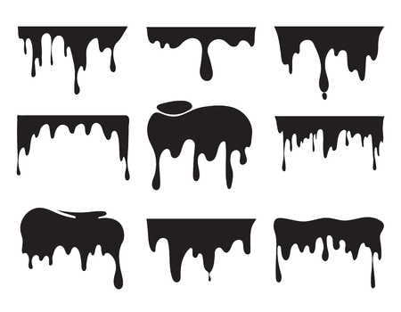 Illustrations of various dripping black paint. Vector pictures of splashes