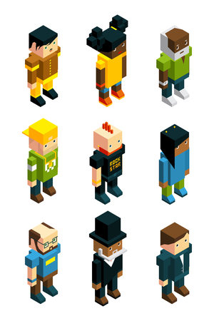 Avatars for 3D games. Isometric low poly people in various clothes Ilustração