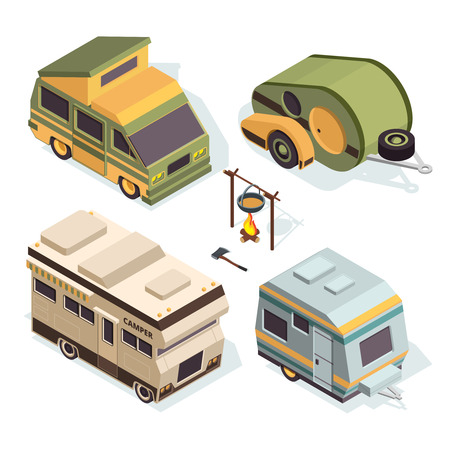Isometric camping cars. Vector pictures isolate on white Illustration