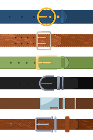 Clothing belt. Vector set of various colored belts