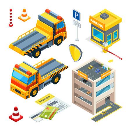 Carros de estacionamiento y evacuación. Transporte isométrico vectorial
