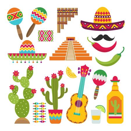 Elementy meksykańskie. Zestaw tradycyjnych symboli meksykańskich dla różnych projektów