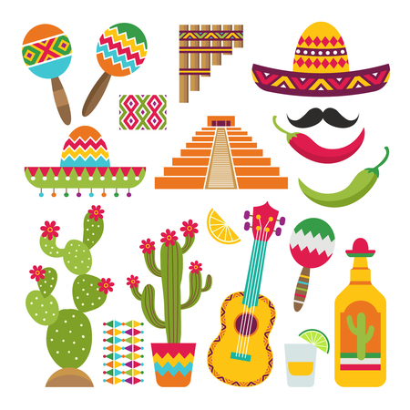 Mexican elements. Set of traditional Mexican symbols for various design projects