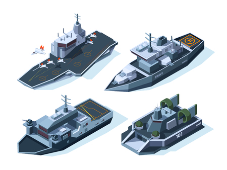 Military boats isometric. Vector american navy