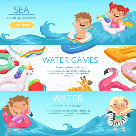 Horizontal banners set with illustrations of happy childrens playing on the beach and water park
