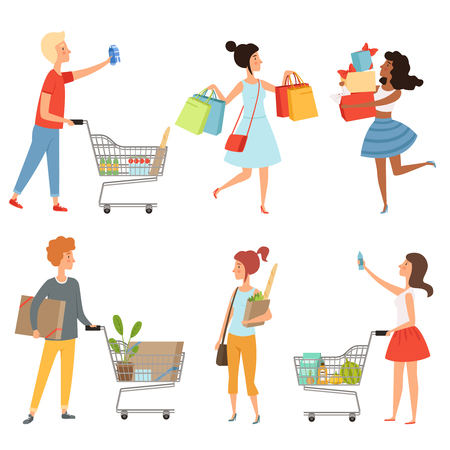 Male and female shopping. Vector pictures of various characters in shop Vettoriali
