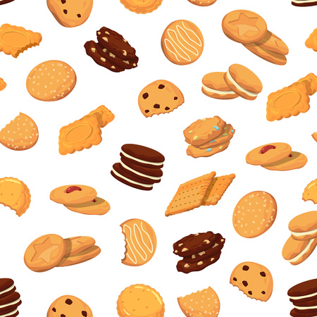 Vector pattern or background illustration with cartoon cookies  イラスト・ベクター素材