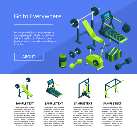 Vector isometric gym page template illustration