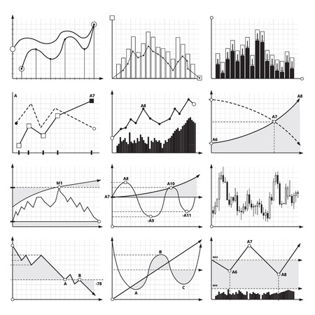 Finance charts and business graphics. Analysis diagrams. Vector pictures set of graph and chart for business data illustration