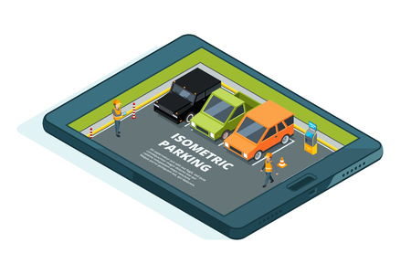 Concept picture of online paid urban parking. Tablet or phones apps Illustration