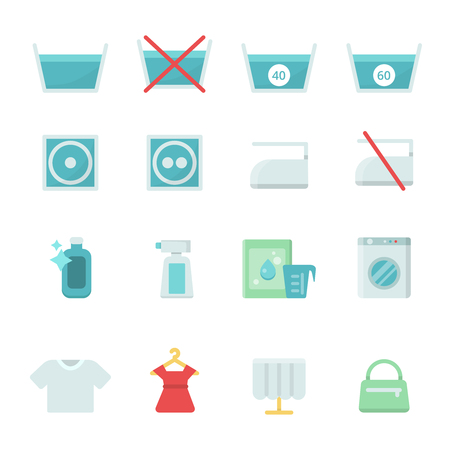 Dry cleaning symbols. Various washing vector icon set. Laundry symbol, machine equipment for wash clothing illustration
