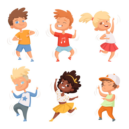 Dancing childrens male and female. Set vector characters. Childhood children, young kids boy and girl dance illustration Foto de archivo - 115009807